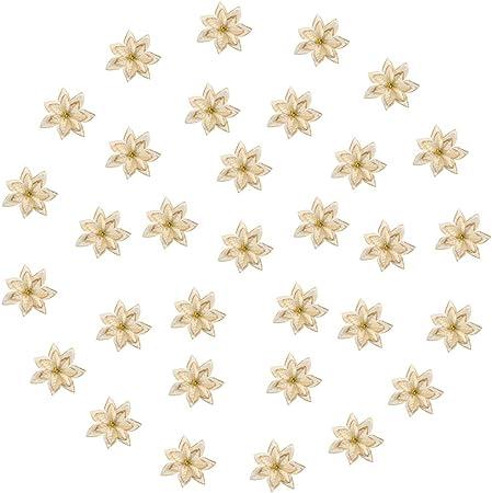 Lot de 6 Fleurs en Paillettes Or De No/ël Fleurs Artificielles Faux Or San Jison Fleurs darbre de No/ël Maison Cuisine Jardin Bureau De Mariage Festival D/écor Ornement