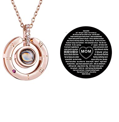 120bd6f6f Firsteel Mother's Day Memory of Love Necklace 100 Languages I Love You Necklace  Women Jewelry