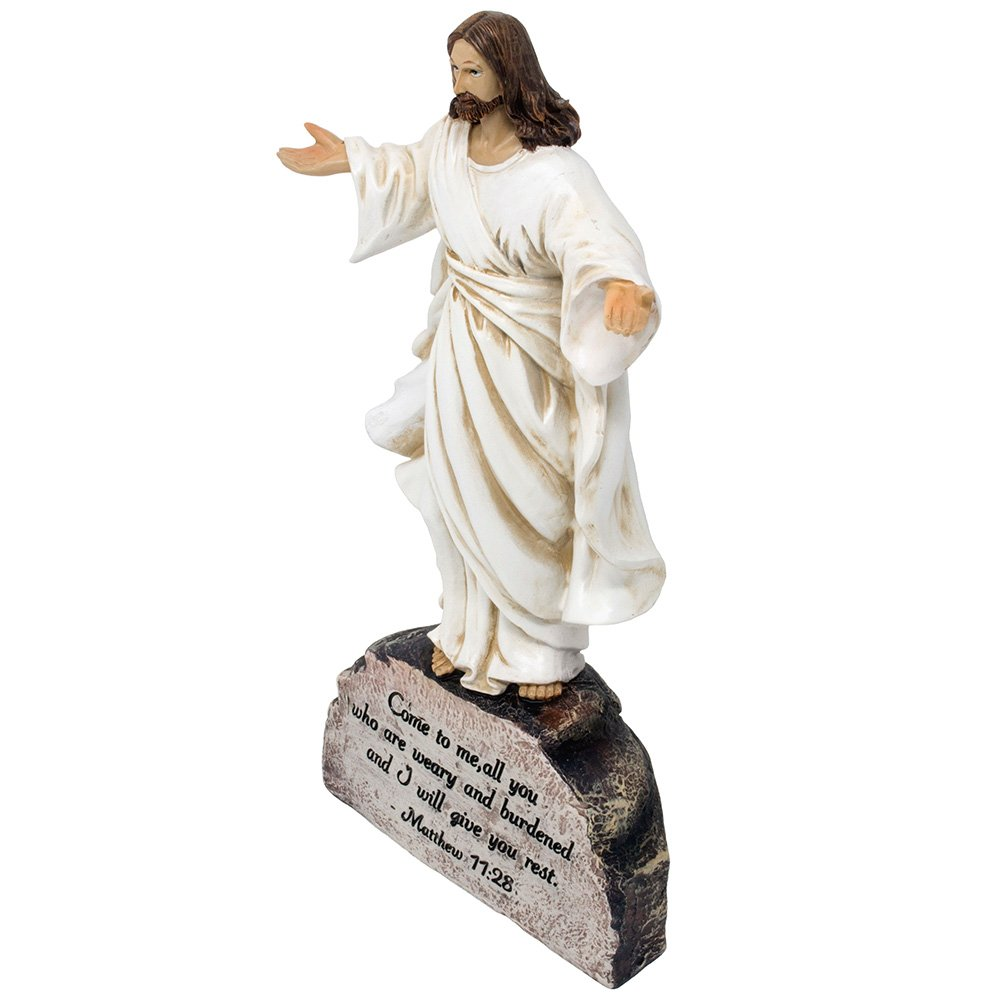 Artwork Jesus on Rock Statue with Inscribed Bible Verse From Matthew