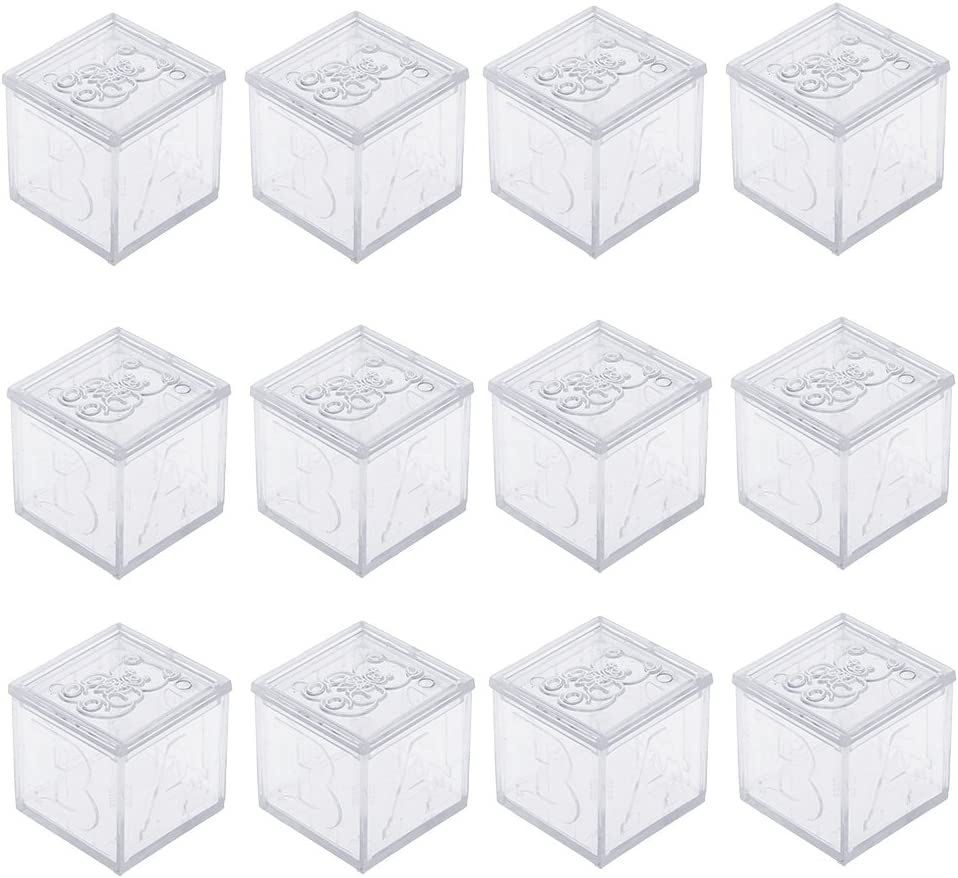 Clear 12pcs Square Bear Printed Candy Chocolate Gift Box Wedding Baby Shower Party Favor Supplies