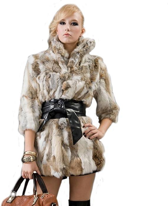 URSFUR Womne de piel de conejo liebre de piel abrigos chaquetas amarillo hierba natural color