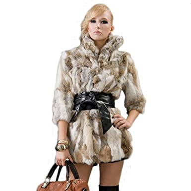 URSFUR Womne de piel de conejo liebre de piel abrigos chaquetas amarillo hierba natural color: Amazon.es: Ropa y accesorios