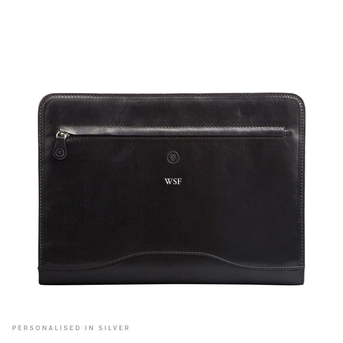 Maxwell Scott Personalized Black Leather Conference Folder with Ringbinder (The Veroli) by Maxwell Scott Bags (Image #7)