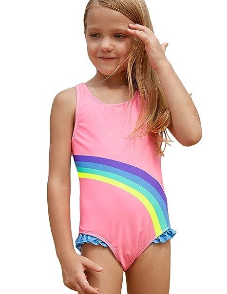 f05b74bf30094 Amazon.com: PARICI Little Girls Rainbow Printed Swimsuit One Piece Swim  Bathing Suit Size 4-8Y: Clothing