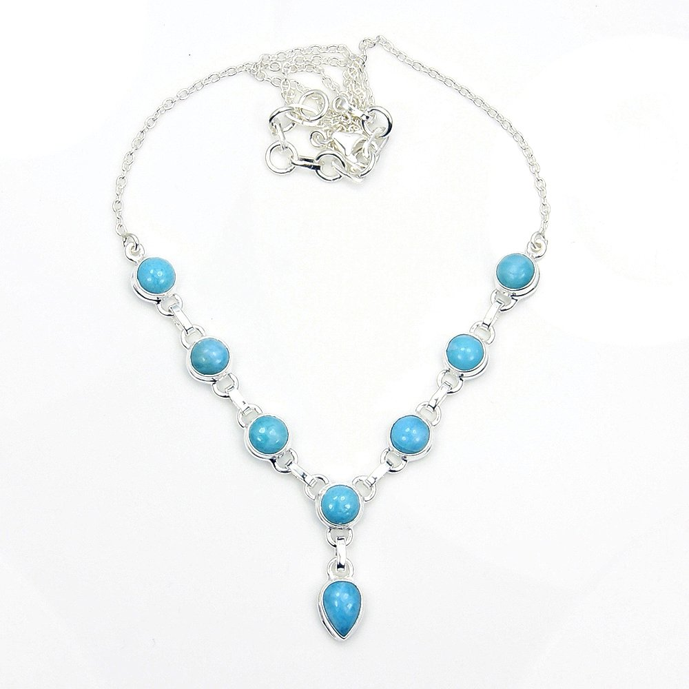 Sterling Silver Genuine Dominican Larimar Y-Necklace by The Silver Plaza (Image #2)
