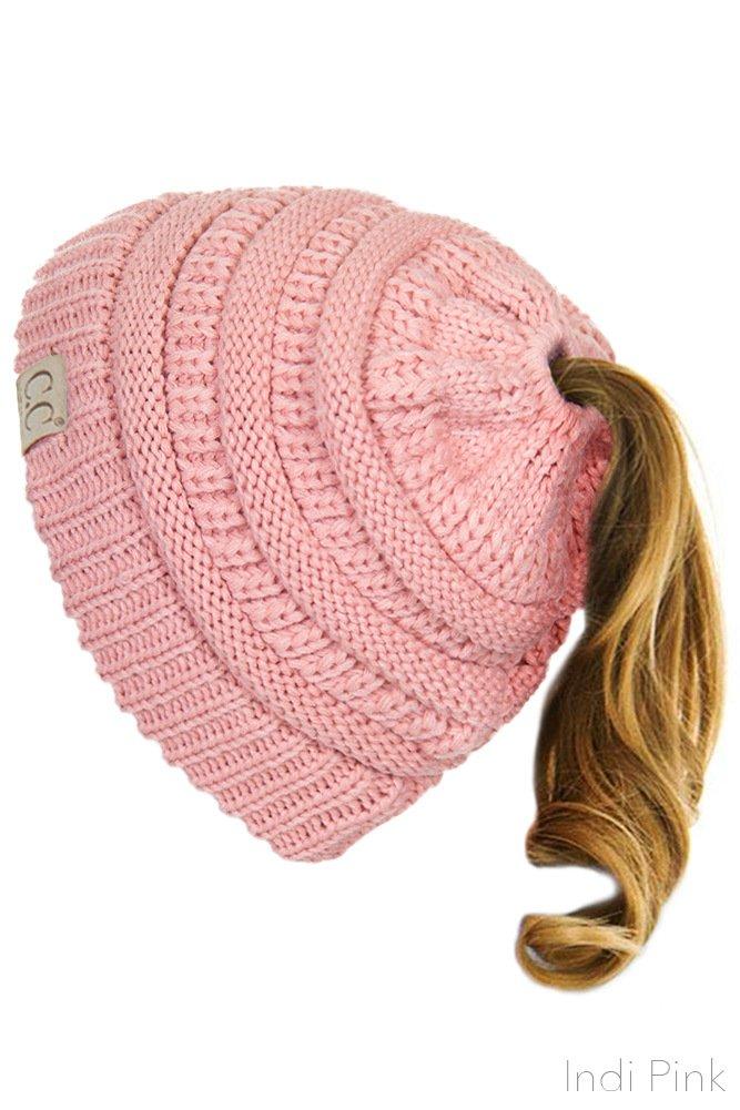 ScarvesMe C.C BeanieTail Kids Children's Soft Ponytail Messy Bun Beanie Solid Ribbed Hat (Indi Pink)