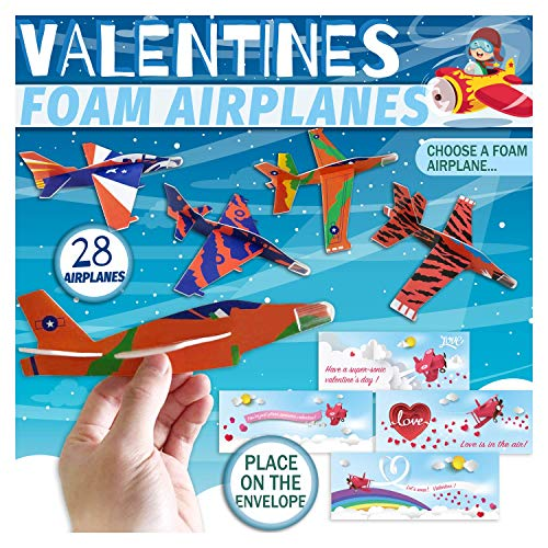 Valentines Day Cards for Kids Boys Girls Children,7'' Foam Jet Fighter Gliders Pack 70Pcs - 28Pcs Easy Assembly DIY Airplanes with Envelopes,Flying Fun Toy Set,Treats for School Classroom,Party Favors