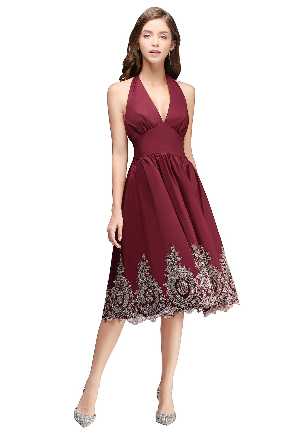Christmas Dinner Dresses 2019.New Year Eve Christmas Party Dress 2019 Short Prom Dress Cocktail Bridesmaid Gowns With Gold Appliques Burgundy
