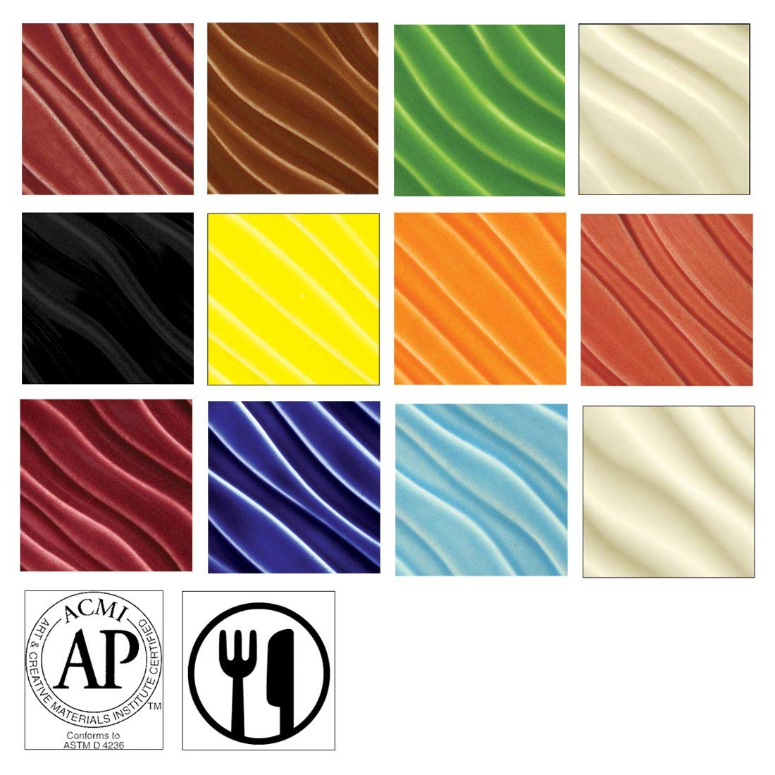 AMACO F Lead-Free Non-Toxic Glaze Classroom Pack for Grade K-6, 1 pt, Assorted Color, Pack of 12 by AMACO B0044S9C5S