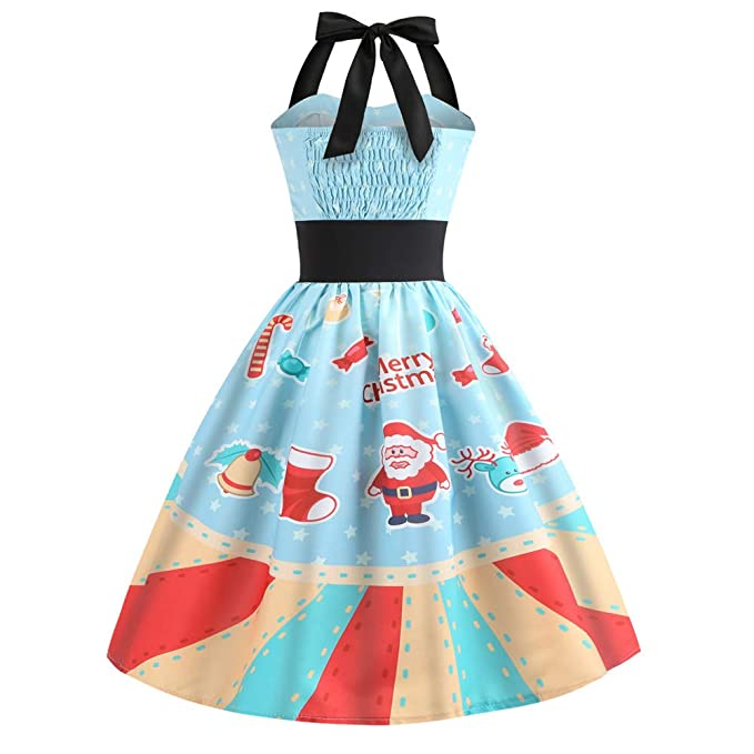 Women Dress Godathe Women Vintage Christmas Printed Halter Sleeveless Evening Party Prom Swing Dress S-XXL at Amazon Womens Clothing store: