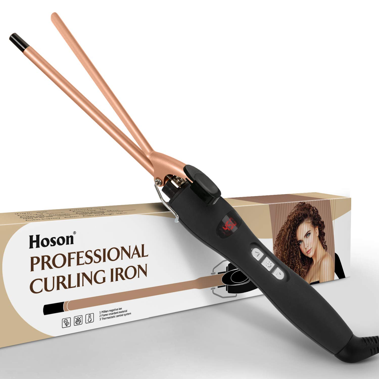 9mm Thin Curling Iron Ceramic, 3/8 Inch Small Barrel Curling Wand for Long & Short Hair, LCD Display with 9 Heat Setting Include Glove(Golden)