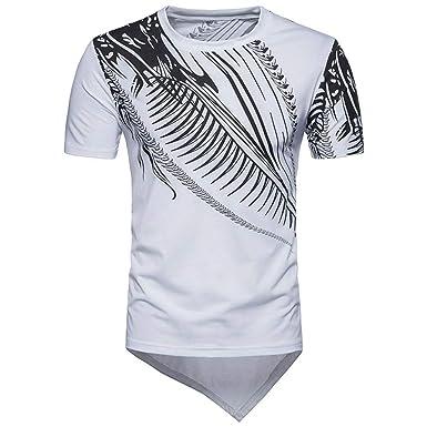 Internet_Camiseta de Manga Corta de Dobladillo de Irregular con ...