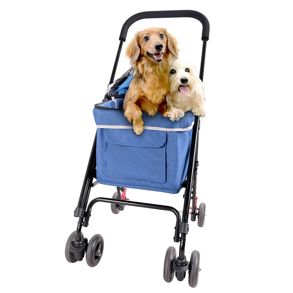 bluee Pet Stroller Travel Dog Cat Trolley Foldable Fast Car Dischargeable Bottle Easy for to Carry 8kg EVA Tires (color   bluee)