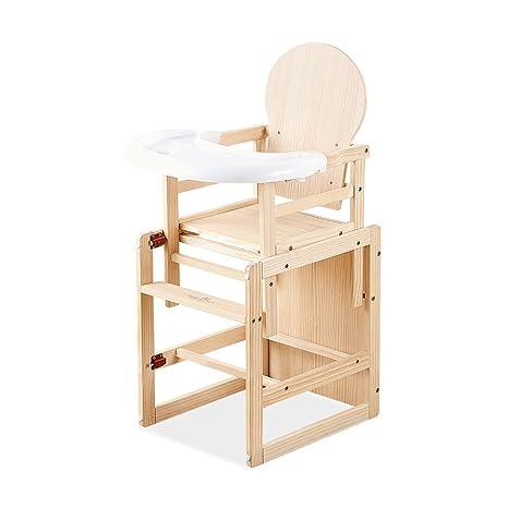 Seggiolone per bambini in legno massello, materassino per bambini ...