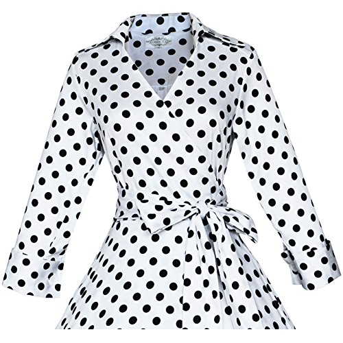 3 Small Sleeve Maggie 60S Tang Vintage 50 4 Dress White Dots Rockabilly Black With Women's nZvIEYrv
