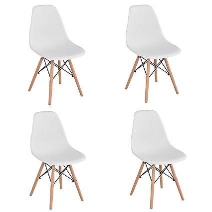 4 Sedie In Legno.Kunstdesign Set Di 4 Sedie Da Pranzo Con Seduta In Polipropilene E Gambe In Legno Massello Di Faggio Design Ergonomico Bianco