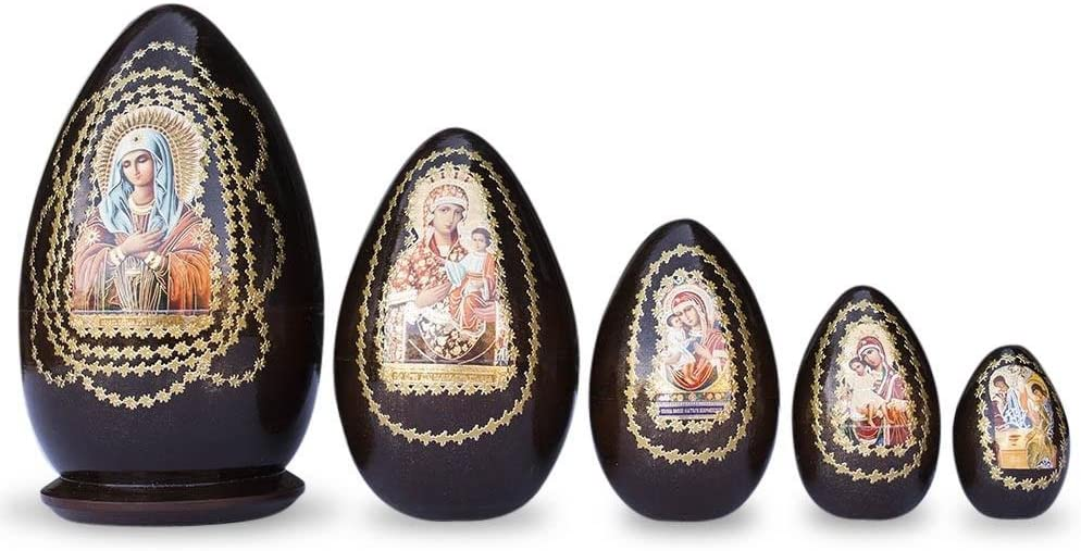 BestPysanky Set of 5 Virgin Mary with Jesus Icon Wooden Russian Nesting Dolls 5 Inches
