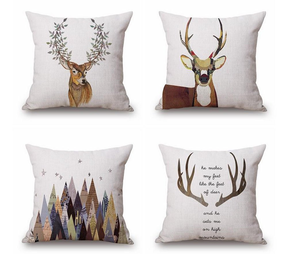 Ogiselestyle Animal Theme Decorative Throw Pillow Case 18''x18'' Set of 4(Antlers)