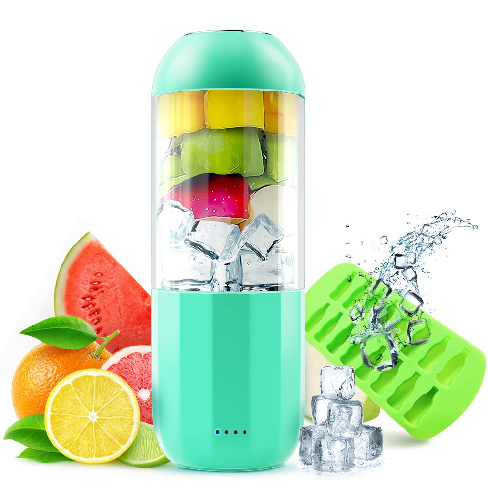 Portable Blender Crush Ice Fruit, SEAPHY Light Weight Mini Smoothies Blender Juicer Fruit Shake Personal Blender for Travel USB Rechargeable On The Go Blender Cup with 6 Blades Detachable Cup for Baby Food, FDA BPA Free, 380ml Bonus Ice Tray