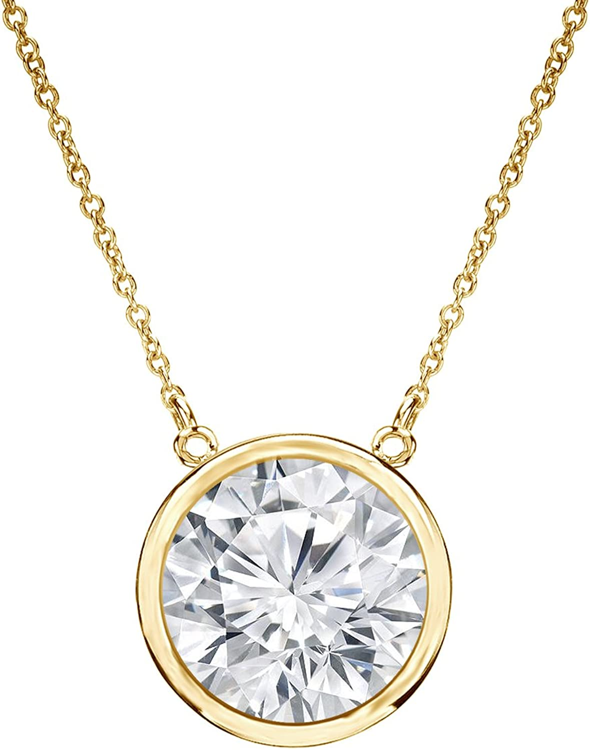 1ct Solitaire White Sapphire Pendant or Slide in 14K Yellow Gold