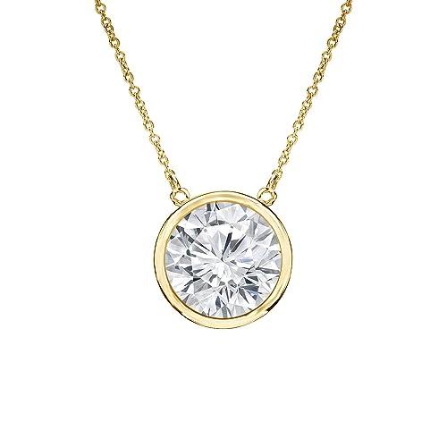 14k Yellow Gold Round Diamond SIMULANT CZ Solitaire Pendant Bezel(1/5-1cttw,Excellent Quality)16&amp...