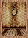 Victorian Area Rug by Ambesonne, Antique Clock on Medieval Style Wall Wooden Floor Classic Architecture Theme Art, Flat Woven Accent Rug for Living Room Bedroom Dining Room, 5.2 x 7.5 FT, Beige Brown