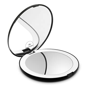 Genial Herwiss Lighted Travel Makeup Mirror, 1x HD 7x Magnifying Folding Hand Held  Compact Mirror