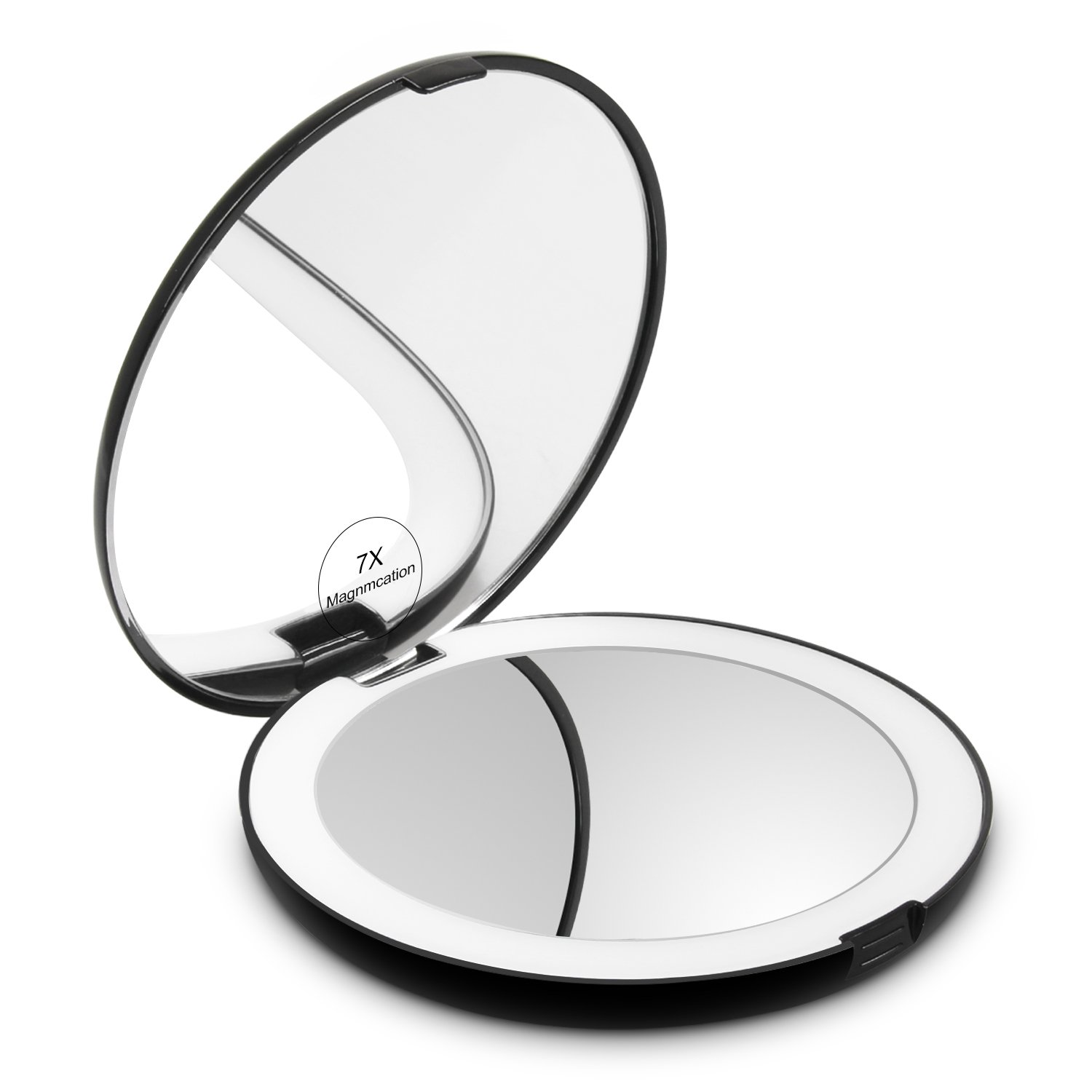 Herwiss Lighted Travel Makeup Mirror, 1x HD 7x Magnifying Folding Hand Held Compact Mirror- Double Sided, Portable, Bright Natural LED Illuminated for Beauty, Cosmetic, Camping and Travel