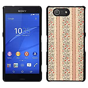 MOBMART Carcasa Funda Case Cover Armor Shell PARA Sony Xperia Z3 Compact - Tiny Brown Colored Flowers