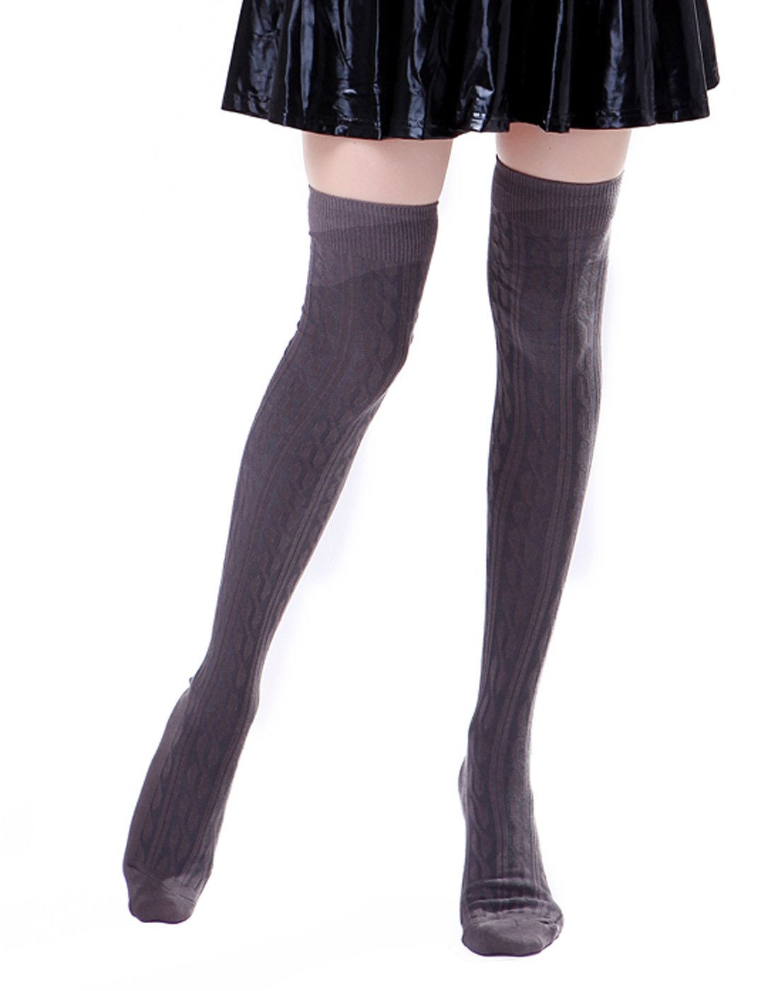 HDE Women's Stockings Solid Color Opaque Cable Knit Over The Knee Socks HDE-P229-2014