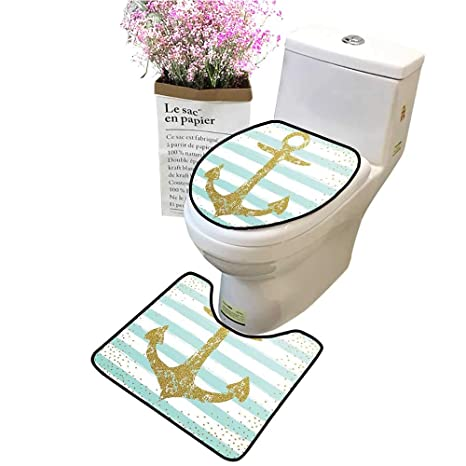 Phenomenal Amazon Com Bathroom Rug Toilet Sets Marine Golden Anchor Inzonedesignstudio Interior Chair Design Inzonedesignstudiocom
