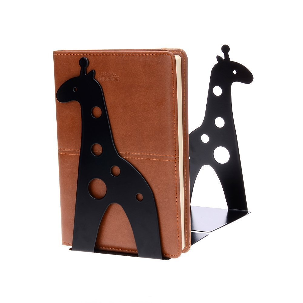 TOBSON A Pairs Cute Giraffe Nonskid Bookends Art Bookend Gift Decoration(Black)