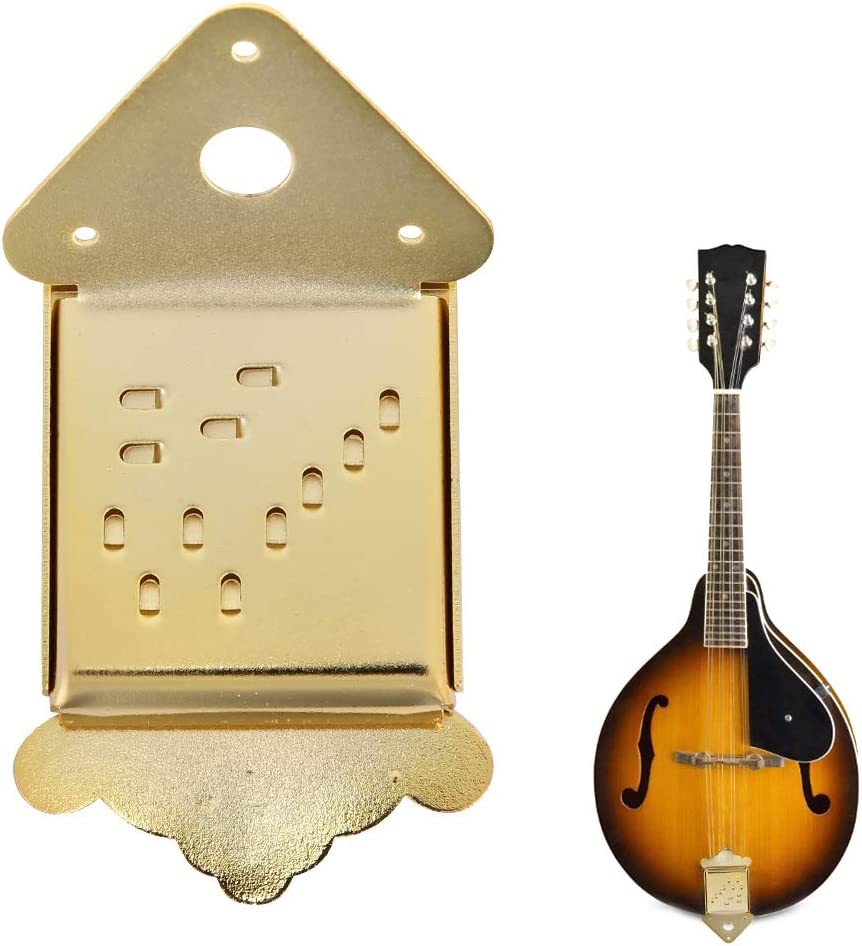 Mandolin Tailpiece,Mandolin Electroplated Metal Bridge Fit for Mandolin 8//10//12 Loop-End String Golden