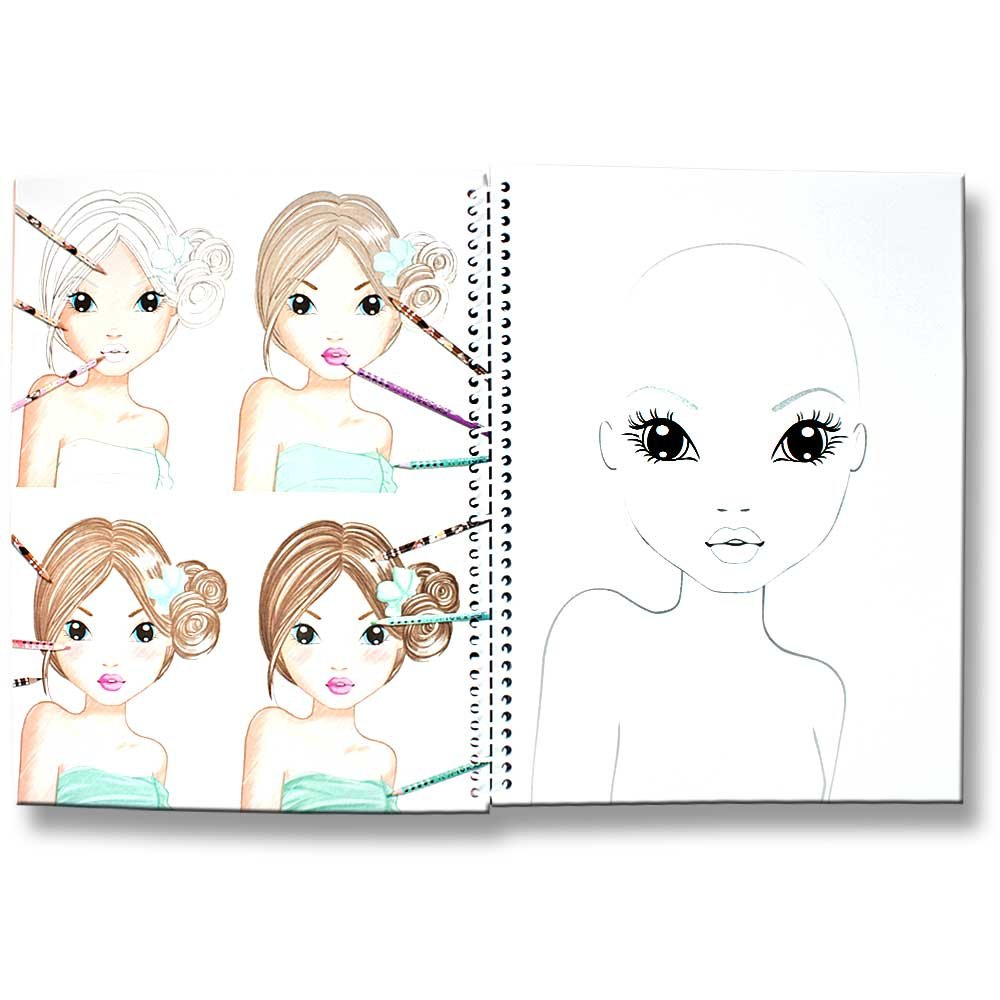 TopModel Malbuch Create your TopModel Make up mit Sticker und Malvorlagen Gesichter rosa gelb Amazon Spielzeug