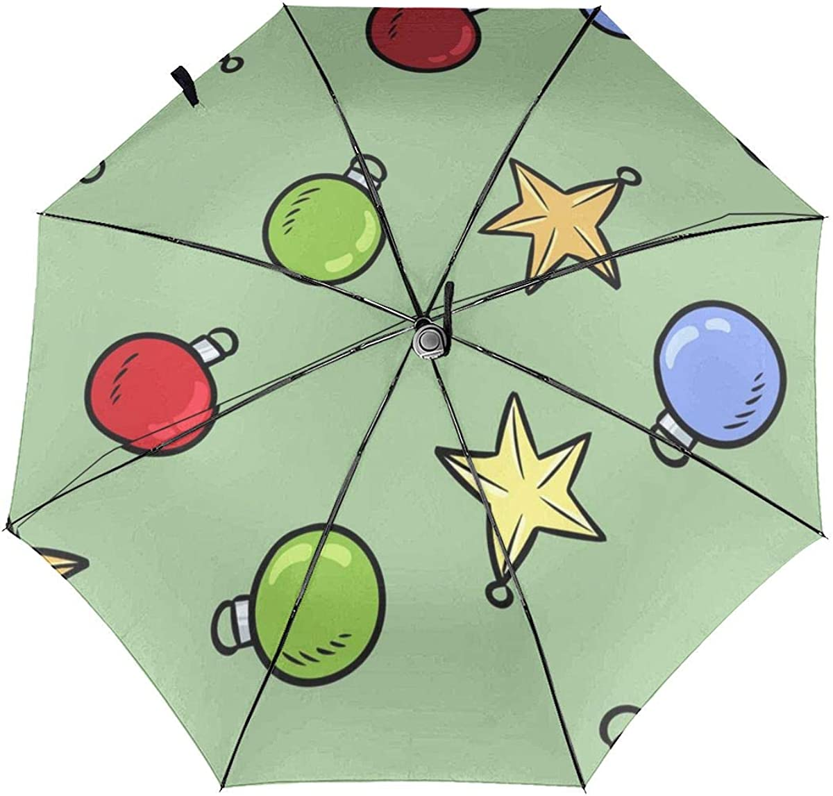 Colored Five-pointed Star And Light Bulb Compact Travel Umbrella Windproof Reinforced Canopy 8 Ribs Umbrella Auto Open And Close Button Personalized