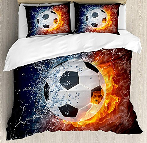 ALAGO Sports Decor Full Beddings by, Soccer Ball on Fire and Water Flame Splashing Thunder Lightning Abstract, 4 Piece Beddings with 2 Decorative Pillow Cases Covers by ALAGO