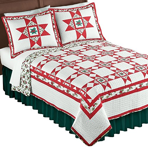Country Christmas Quilt (Holly Stars Patchwork Christmas Quilt, Holiday Red, King)