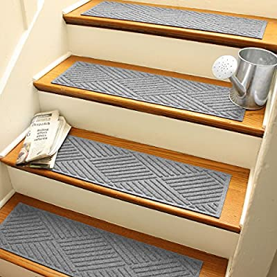 Aqua Shield Diamonds Stair Treads, 8.5 by 30-Inch, Medium Grey, Set of 4
