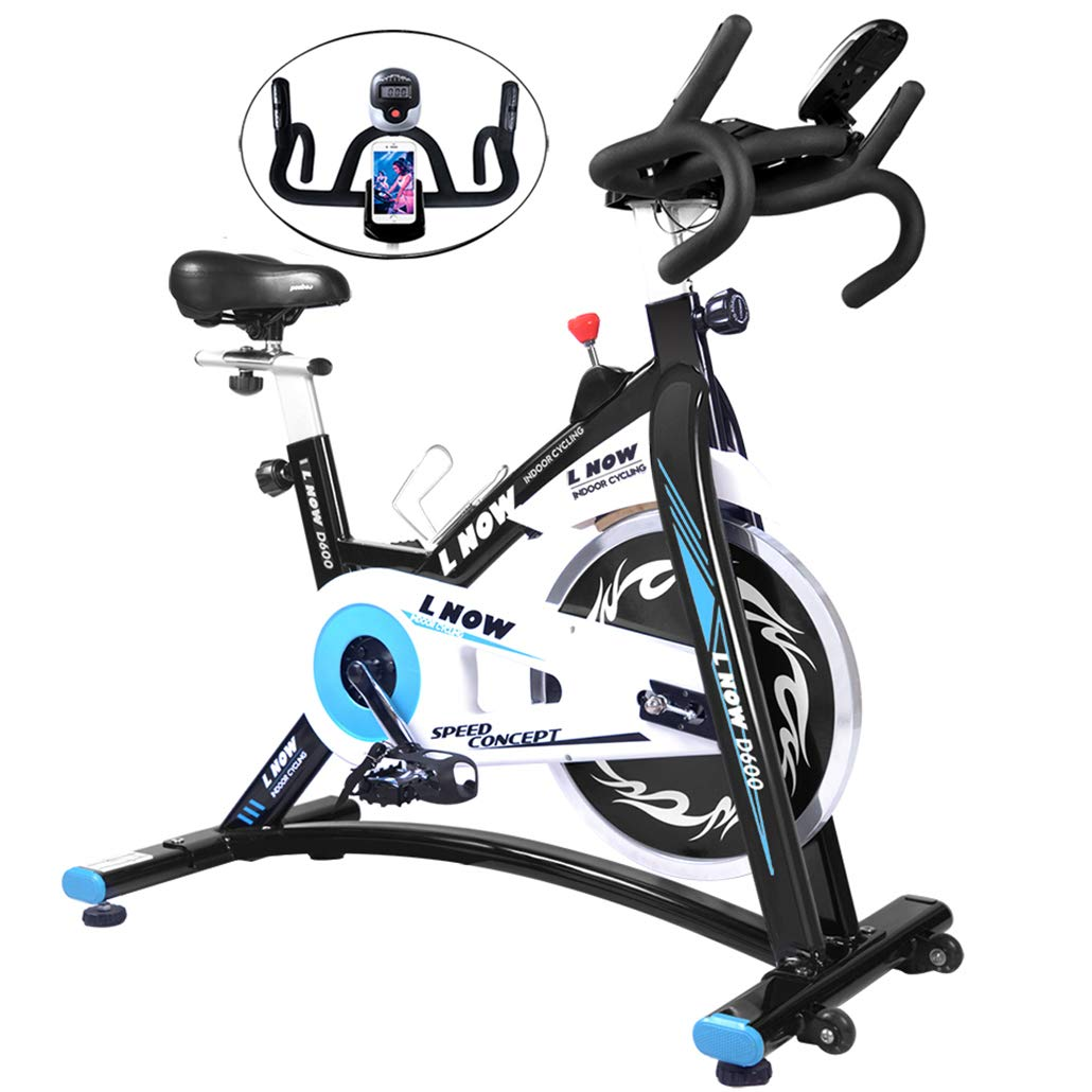 L NOW Indoor Exercise Bike Indoor Cycling Stationary Bike, Belt Drive with Heart Rate, Adjustable Seat and Handlebar, Tablet Holder, Stable Quiet and Smooth for Home Cardio Workout(D600) by L NOW