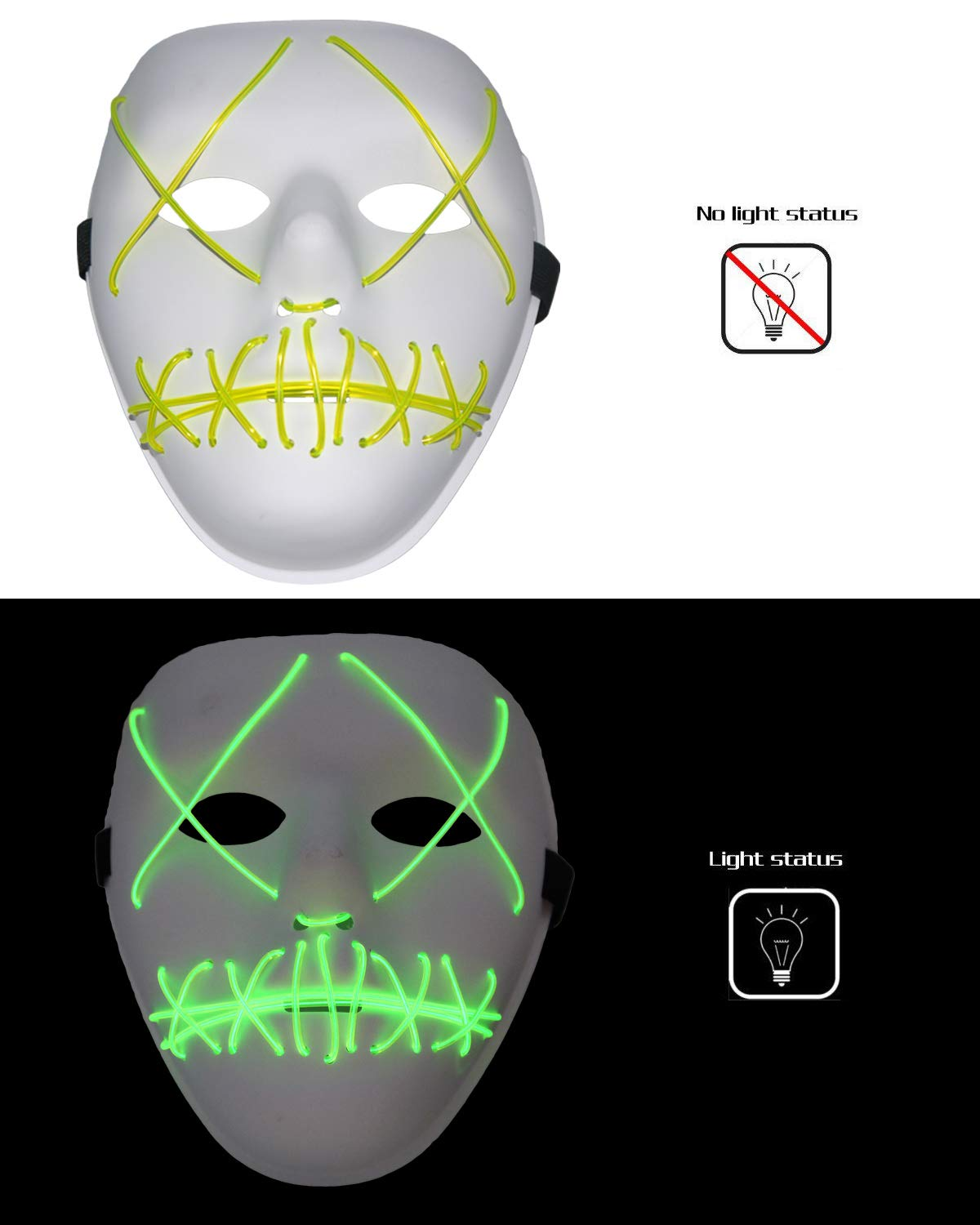 Scary Halloween Mask Cosplay LED Glow Scary EL Wire Light up Grin Masks for Festival Parties Costume (Green)