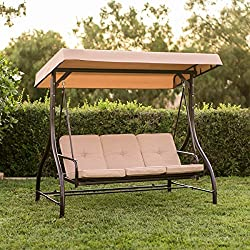 Best Choice Products Converting Outdoor Swing Canopy Hammock Seats 3 Patio Deck Furniture - Tan