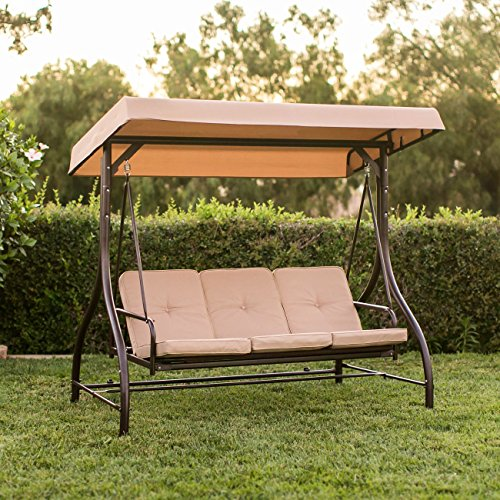 Best Choice Products Converting Outdoor Swing Canopy Hammock Seats 3 Patio Deck Furniture Tan (Swing Bed Outdoor Furniture)