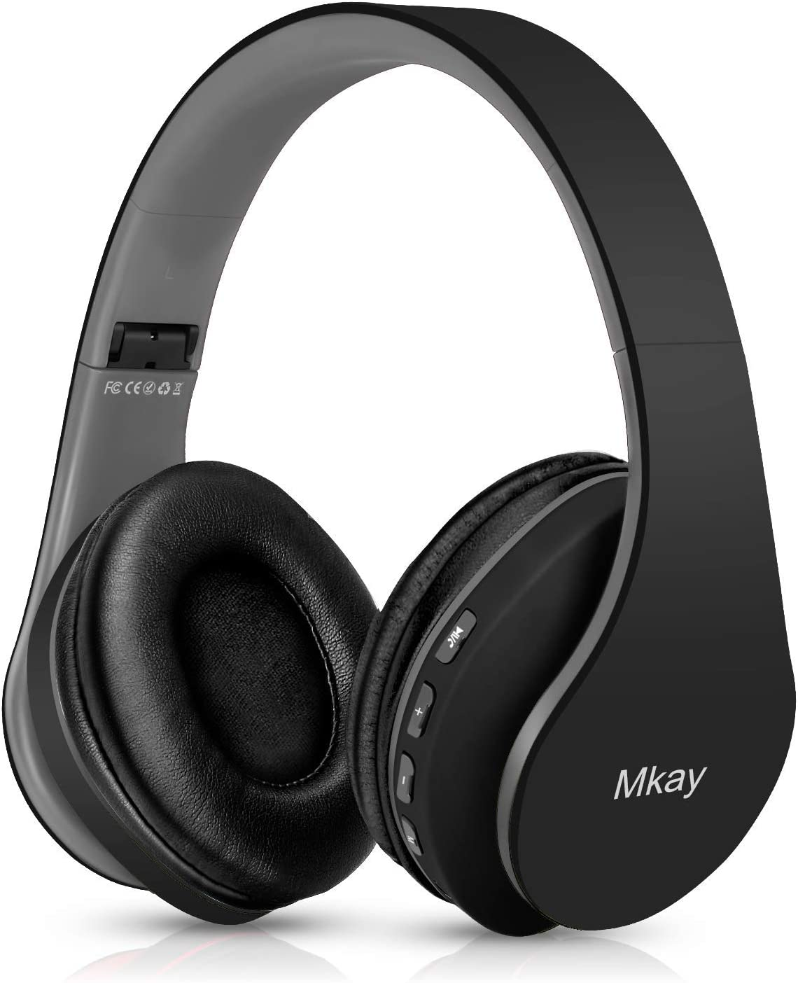 Bluetooth Headphones Wireless,MKay Over Ear Headset V5.0 with Microphone, Foldable & Lightweight, Support Tf Card MP3 Mode and Fm Radio for Cellphones Laptop TV(Black-Gray)