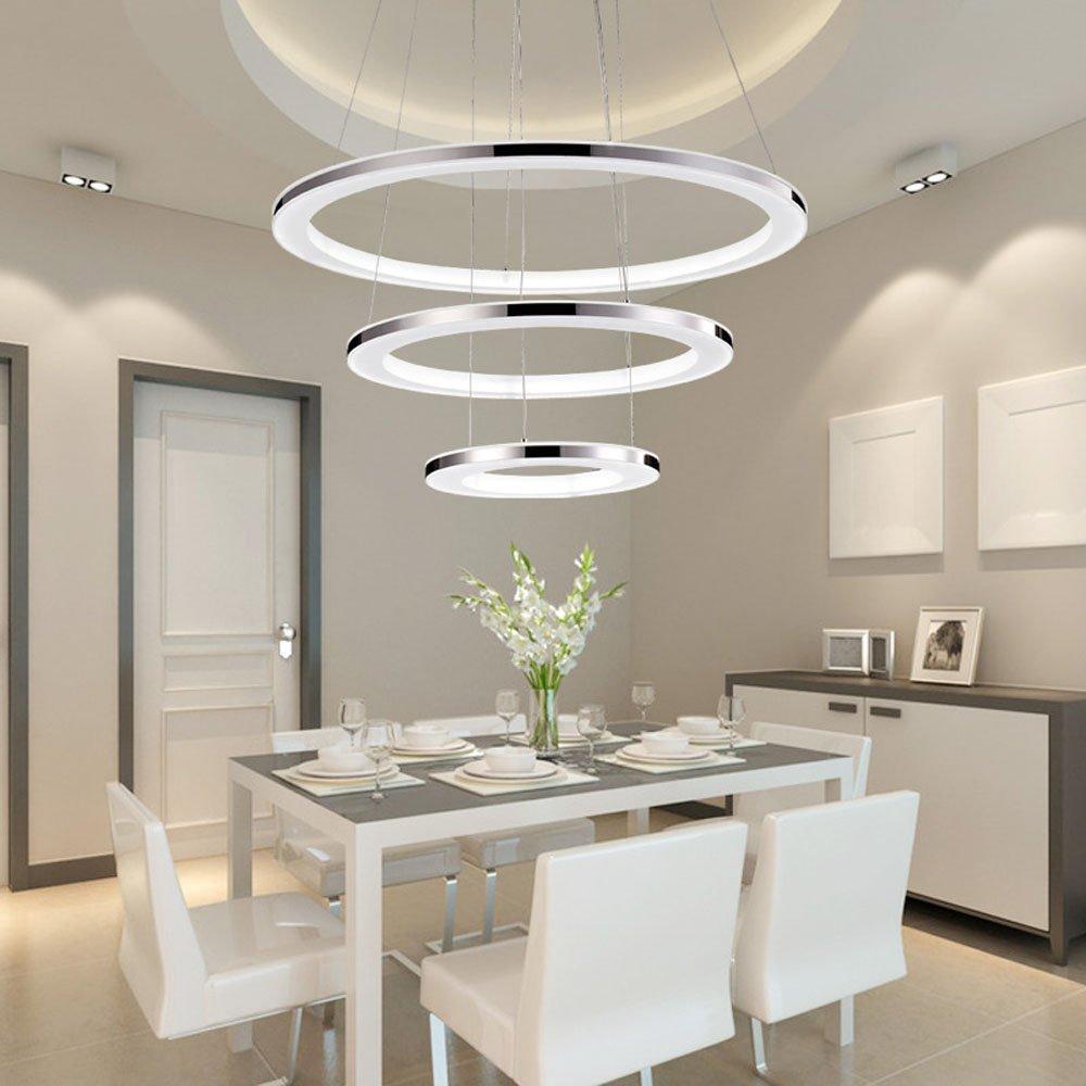 ZMH Moderne Pendelleuchte LED Pendelleuchte Moderne esstisch Led ring led 12W warmweiss Hängeleuchte 20CM Wohnzimmer Deckenleuchte Schlafzimmer Höhenverstehbar Hängelampe Kronleuchter (20cm 12W) 66decf