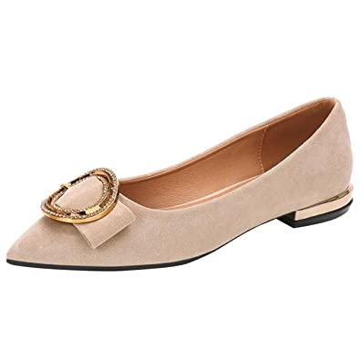 c95817a8a Mashiaoyi Women's Pointed-Toe Flat Slip-on Metal Ballet Flats US 4 Apricot
