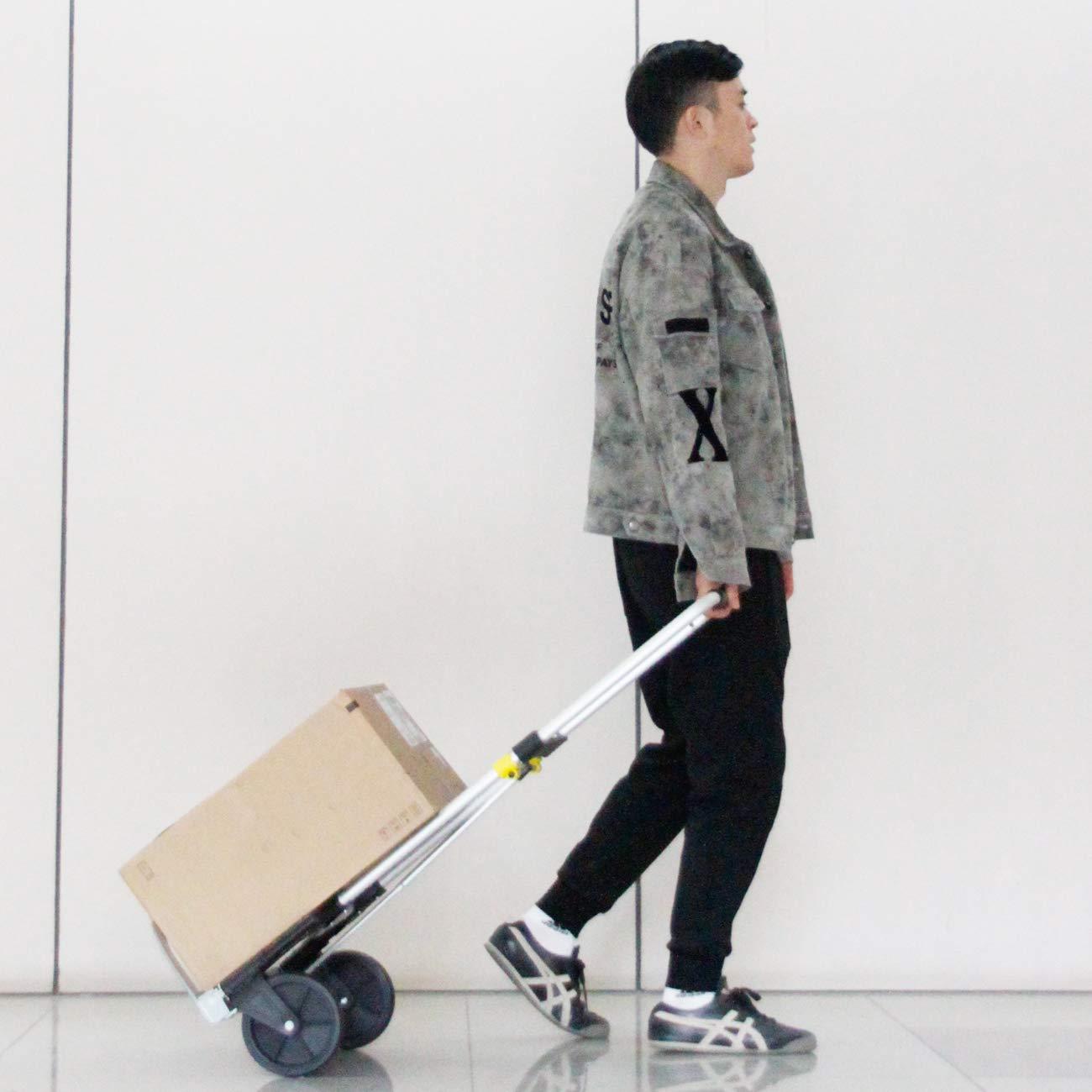 soges Carro de mano plegable con ruedas Carretilla de mano port/átil Carrito de equipaje Carro compacto de utilidad con vendaje Peso ligero capacidad de 60 kg,KT-2022