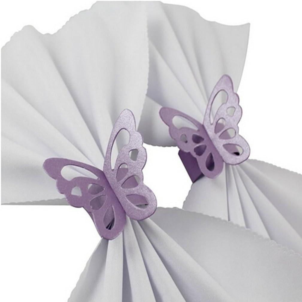 20 Jixing 50 ST/ÜCKE 3D Schmetterling Papierserviettenring Serviettenb/änder Hochzeit Tischdekoration 2,5 cm Blau