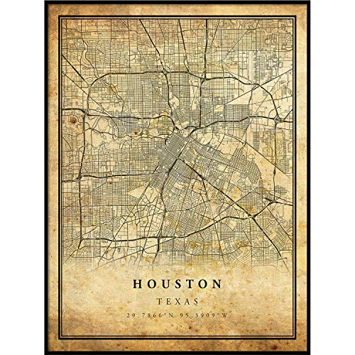 Houston map Vintage Style Poster Print | Old City Artwork Prints | Antique Style Home Decor | Texas Wall Art Gift | Antique map 11x14 ()