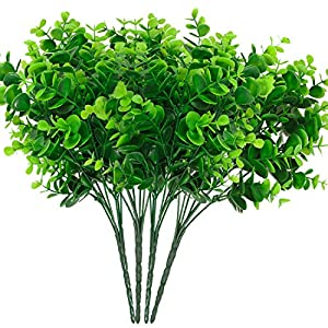 DiDaDi Artificial Shrubs, 4pcs Fake Plastic Greenery Plants Eucalyptus Leaves Bushes Flowers Filler Indoor Outside Home Garden Office Verandah Decor 50