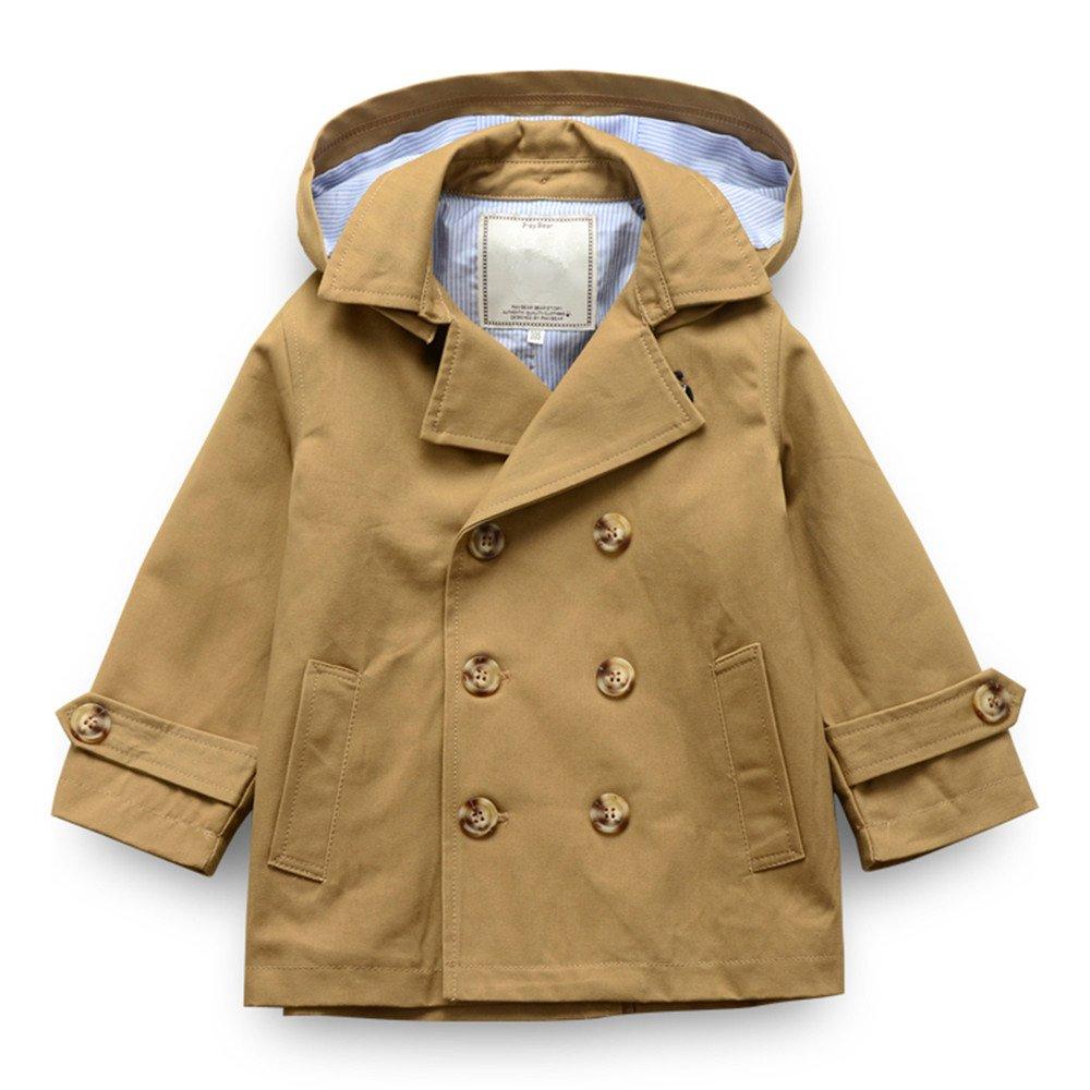 LJYH Toddler Boys' Classic Peacoat Hooded Toggle Coat 5-6yrs Khaki